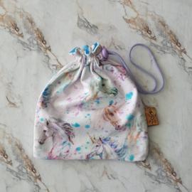 Knikkerzak rechthoek unicorn aquarel