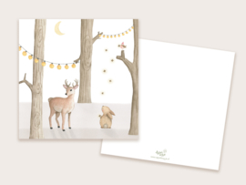 Kerstkaart hert + konijn licht