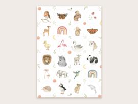 Stickervel A4 dieren