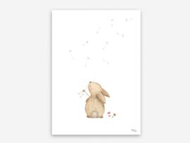 A5 konijn met paardenbloem