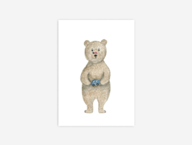 Ansichtkaart  beer met auto