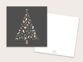 Kerstkaart kerstboom donker