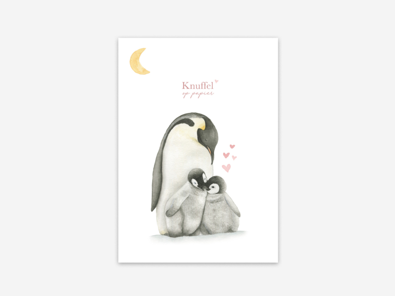 Ansichtkaart Pinguins knuffel op papier