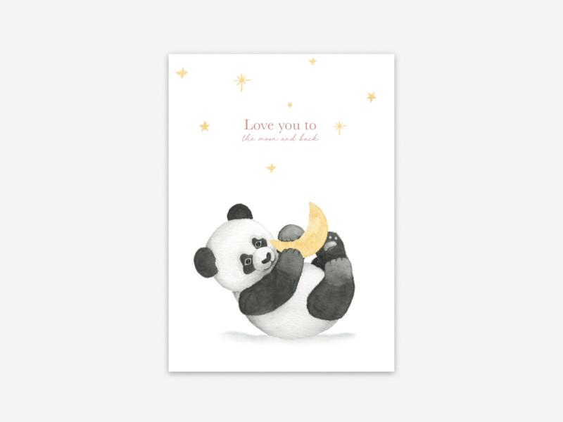 Ansichtkaart panda love you to...