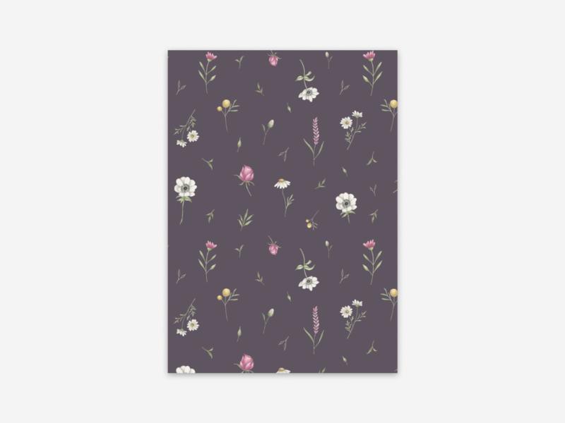 Ansichtkaart lentebloemen paars