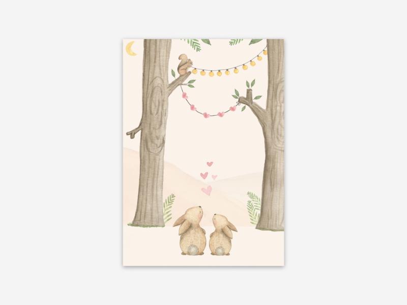 Ansichtkaart konijnen in het bos + hartjes