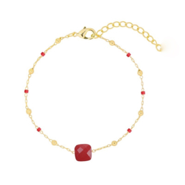 Square Red | Bracelet | Gold