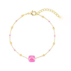 Square Pink | Bracelet | Gold