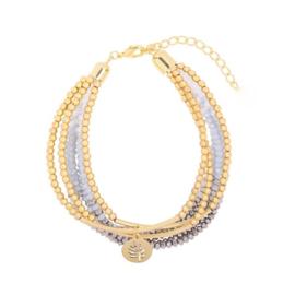 Sparkle shine leaf | Bracelet | Grey