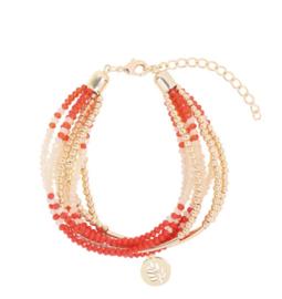 Sparkle shine leaf | Bracelet | Red