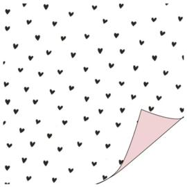 Cadeau papier | Hartjes | Zwart-Wit-Roze