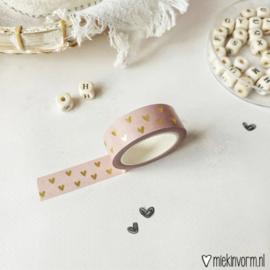 Gouden hartjes roze   Washi/Masking Tape   Goldfoil