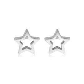 Star Open | Studs | Silver