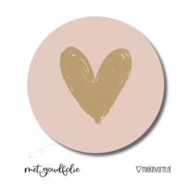 Gouden Hart roze   Stickers   5 stuks