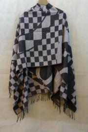 Omslagdoek zwart/grijs blokje diagonaal