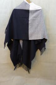 Omslagdoek zwart/grijs/wit blok