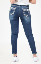 Grace in LA Whimsical Embellished Flap Pocket SKINNY (Easy Fit)