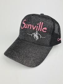 Sunville Ponytail Cap Pink/Black Glitter