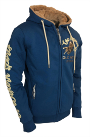 "OSWSA Women's Hooded Teddy Jacket ""Susie"" Trueblue/Caramel"