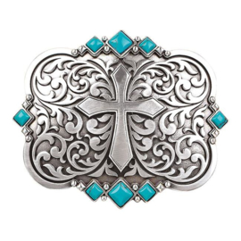 Blazin Roxx Center Cross Turquoise Stones Buckle