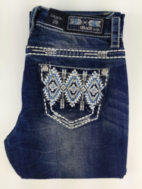 Grace in LA White & Blue Aztec BOOTCUT