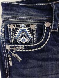 Grace in LA White & Blue Aztec BOOTCUT