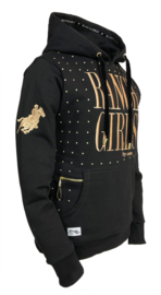 "Ranchgirls Hooded Sweat ""Dot"" Black/Lightgold"
