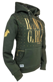 "Ranchgirls Hooded Sweat ""Dot"" Khaki/Gold"