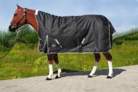 """""""TOUGH HORSE"""" - Regendeken (ZWART) - Halve hals - apart onderdeken (300gr.)"""