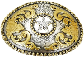 Nocona Gold Star Oval Buckle Silver