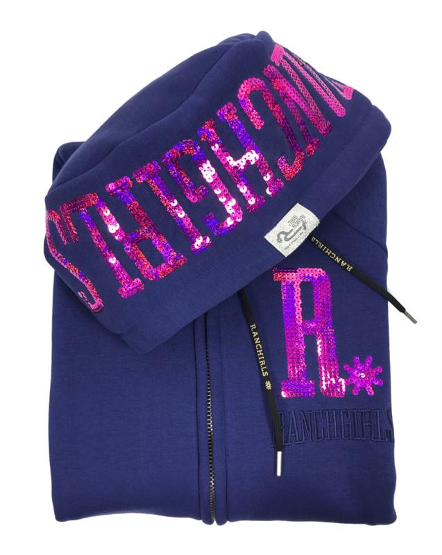"Ranchgirls Hooded Jacket ""Shiny"" Blue print/Pink"