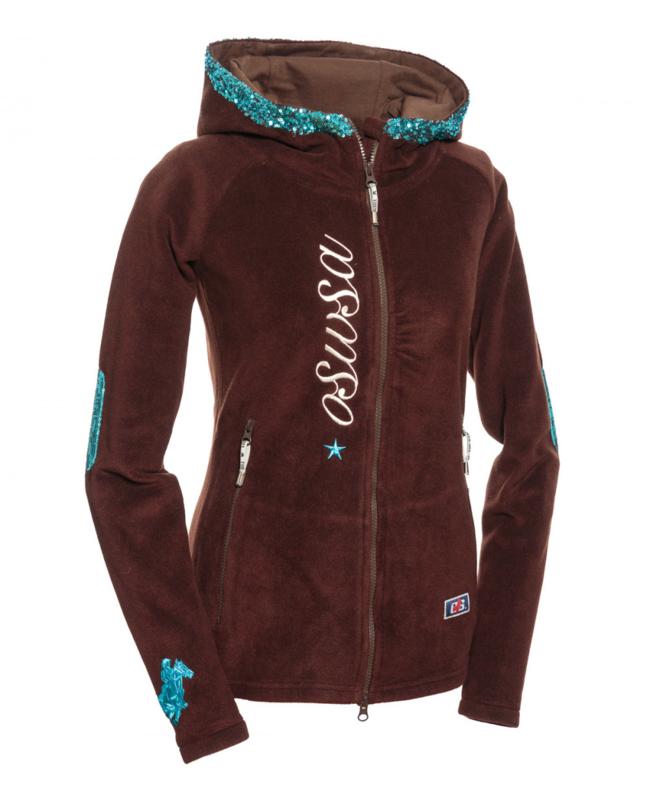 OSWSA Hooded Polarleece Brown/Turquoise