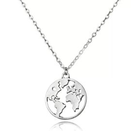 Ketting met hanger wereldbol, zilver
