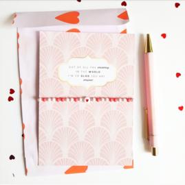 Moederdag armbandje met kaart ''love you mom'' pink