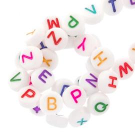 Letterkralen ''wit & multicolor'' 1 stuk