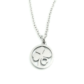 Bedelketting ''lucky'' stainless steel, silver
