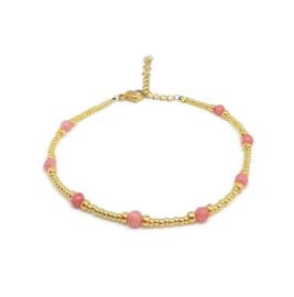 Kralen enkelbandje met edelsteen ''red opaal'' handmade
