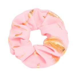 Scrunchie ''golden feather'' light pink
