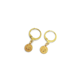 Bedel oorbellen ''tiny  coin'' gold
