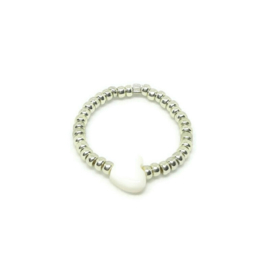 Bead ring ''heart'' silver