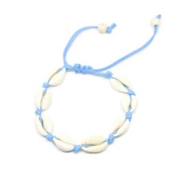 Enkelbandje met kauri schelpjes ''light blue''