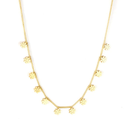 Ketting stainless steel ''tiny flowers'' gold