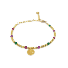 Little beads armbandje ''coins '& gemstones'' goud