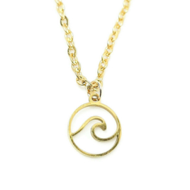 Bedelketting ''waves'' stainless steel, gold