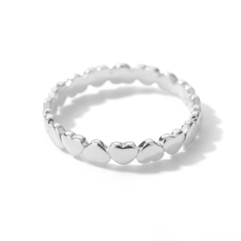Ring stainless steel ''little hearts'' silver