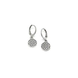 Bedel oorbellen ''mandala'' silver