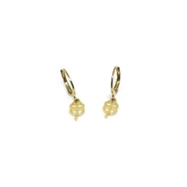 Bedel oorbellen ''lucky clover'' gold