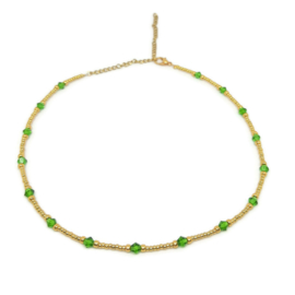 Little beads ketting ''green stones'' goud, handmade