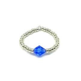 Bead ring ''one stone'' blue & silver