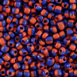 Rocailles 3mm, stripes red-blue